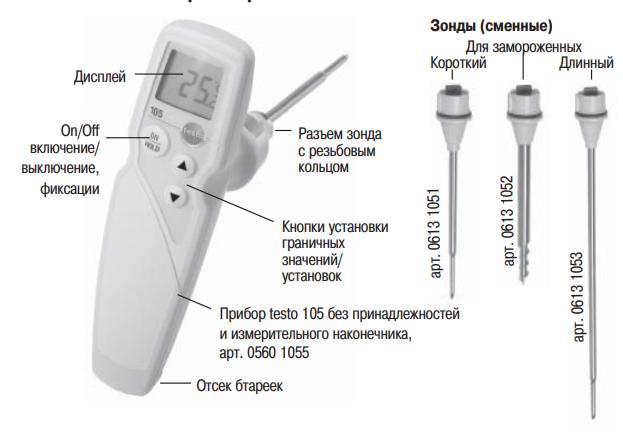 Пищевой термометр testo 105   узнать стоимость